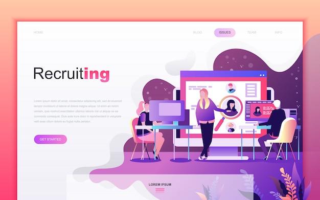 Moderno desenho plano de recrutamento de negócios Vetor Premium
