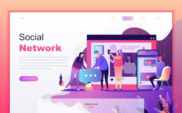 Moderno desenho plano de rede social Vetor Premium