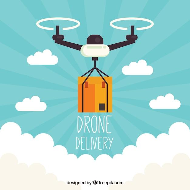 Moderno drone de entrega com design plano Vetor grátis