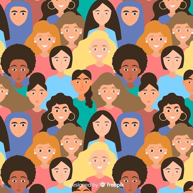 Moderno padrão de grupo internacional de mulheres Vetor grátis