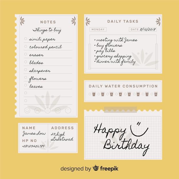 Moderno para fazer a lista de coleta com papel de caderno Vetor grátis
