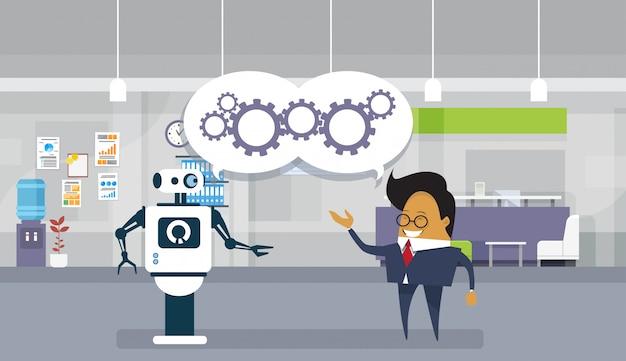 Moderno, robô, e, homem negócio, brainstorming, junto, trabalho equipe, e, cooperação, conceito Vetor Premium