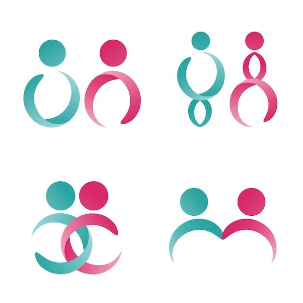 Moderno símbolo masculino e feminino ou modelo de logotipo. Vetor Premium