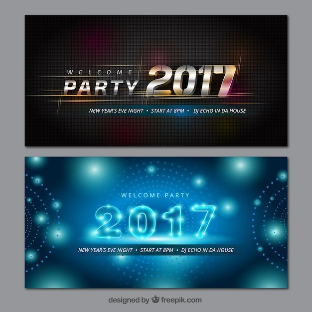 Modernos 2017 banners Vetor Premium