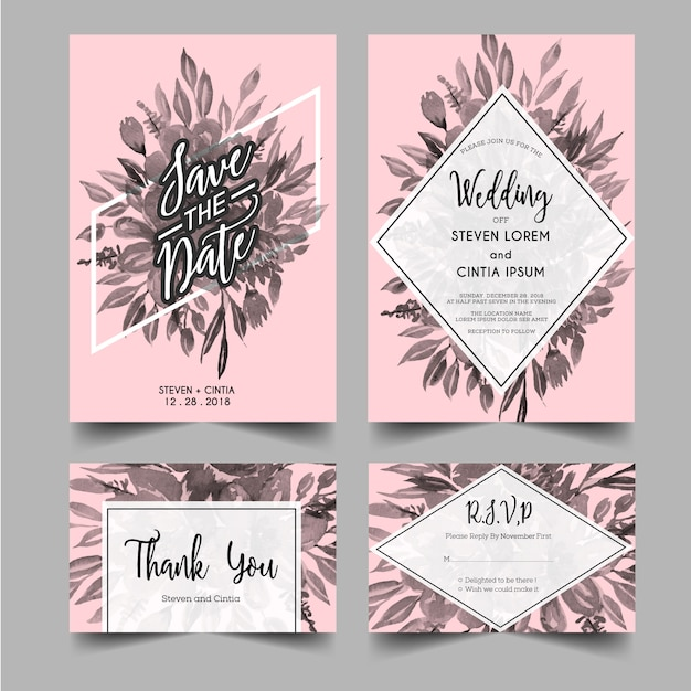 Modernos, convites casamento, grayscale, floral Vetor Premium