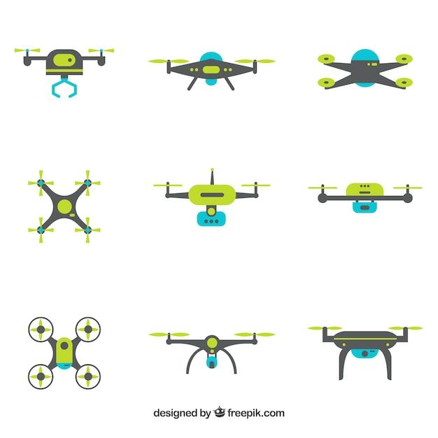 Modernos drones com design plano Vetor grátis