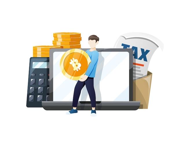 Moeda bitcoin isenta de impostos em pagamento por bitcoins Vetor Premium