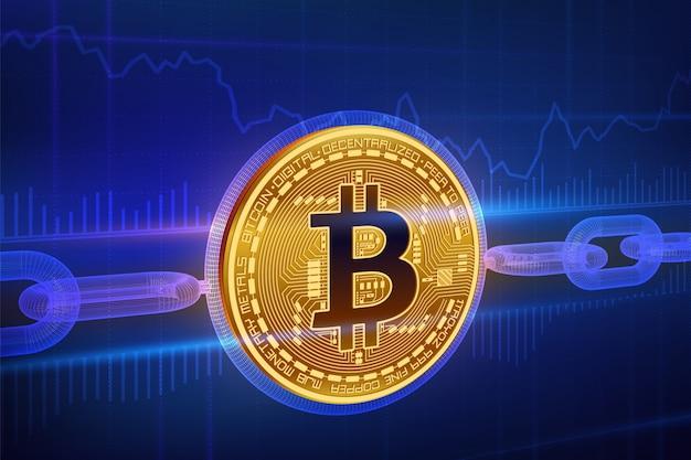 Moeda criptografada. corrente de bloqueio. bitcoin bitcoin dourado físico isométrico 3d com corrente de wireframe. conceito blockchain. Vetor Premium