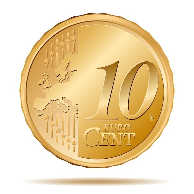 Moeda de dez centavos Vetor Premium