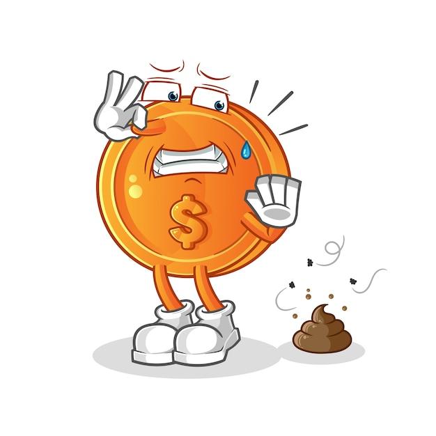 Moeda de dólar com ilustração de resíduos fedorentos Vetor Premium