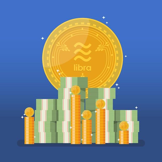 Moeda de libra com dinheiro em dinheiro em estilo simples Vetor Premium