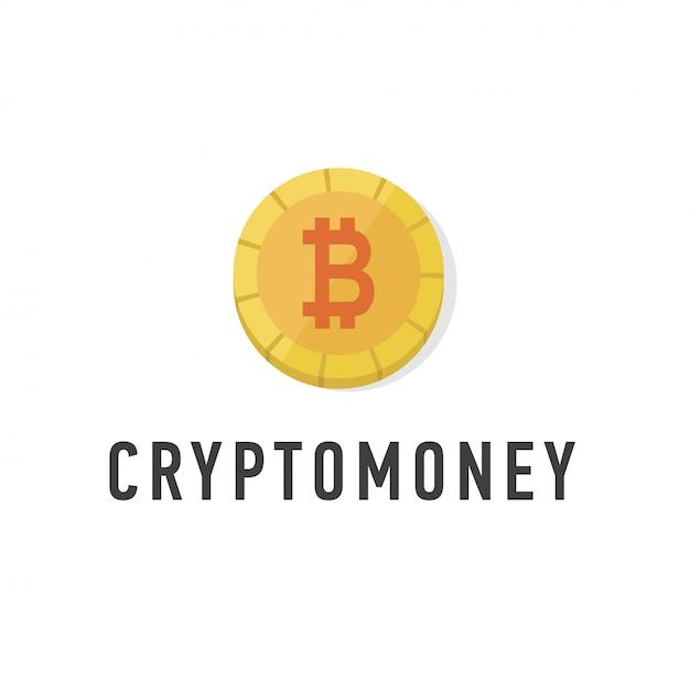 Moeda de ouro com sinal de bitcoin plana. símbolo de dinheiro web. Vetor Premium