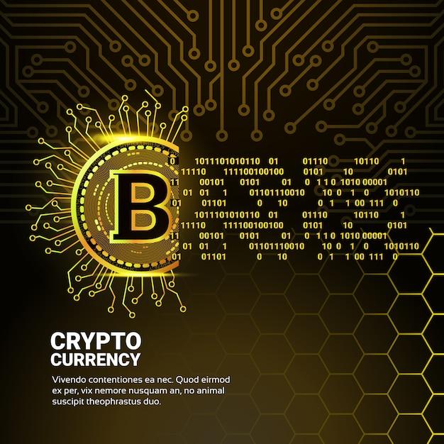 Moeda digital bitcoin dourada Vetor Premium