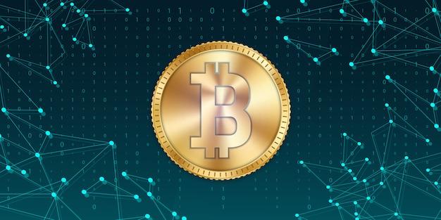 Moeda dourada do bitcoin, moeda, cryptocurrency. Vetor Premium
