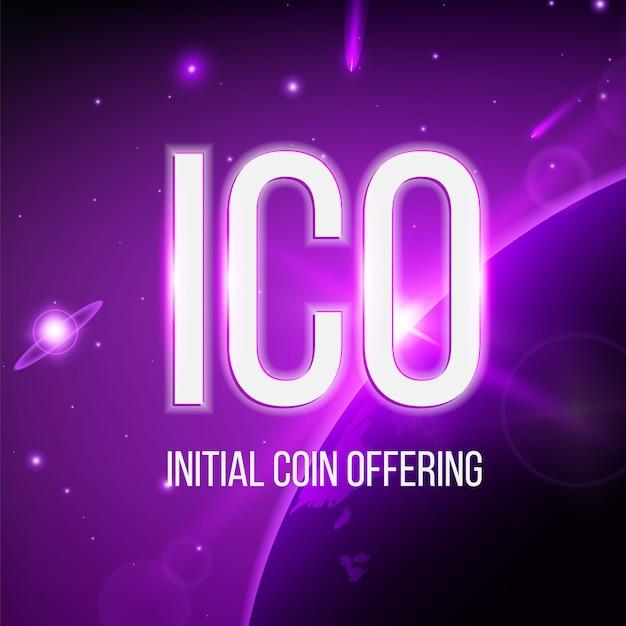 Moeda inicial da oic oferecendo fundo blockchain. Vetor Premium