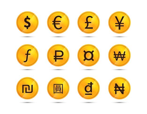 Moedas com sinais de moeda Vetor Premium