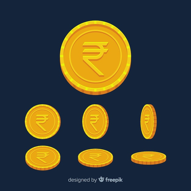 Moedas da rupia indiana Vetor grátis