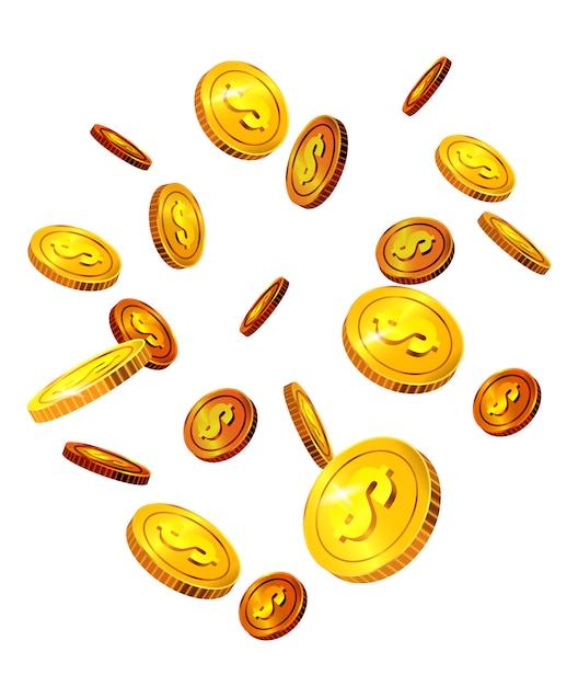 Moedas de dólar caindo. sucesso, sorte, dinheiro. conceito de investimento. Vetor grátis