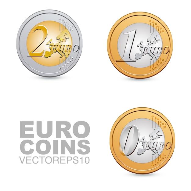 Moedas de euro Vetor Premium