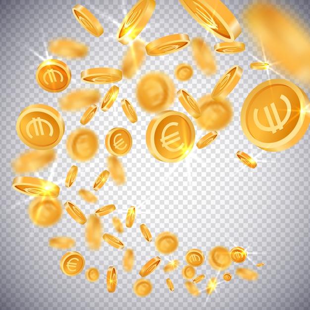Moedas de ouro 3d dólar e euro Vetor Premium