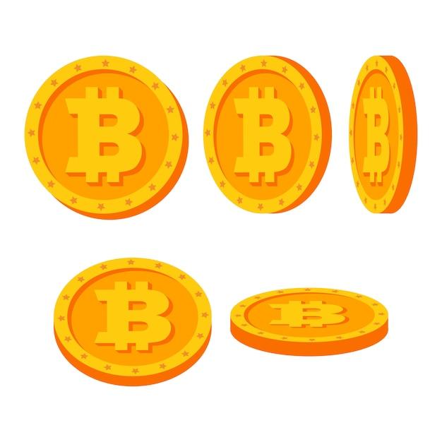 Moedas de ouro bitcoin Vetor Premium