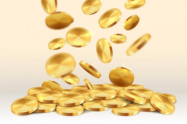 Moedas de ouro caindo. dinheiro chuva casino jackpot 3d jogo de ouro realista ganhando tesouro. moeda caindo Vetor Premium