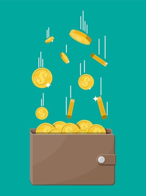 Moedas de ouro caindo e carteira de couro. chuva de dinheiro. moedas de ouro com cifrão. crescimento, renda, poupança, investimento. símbolo de riqueza. sucesso nos negócios. ilustração do estilo simples. Vetor Premium