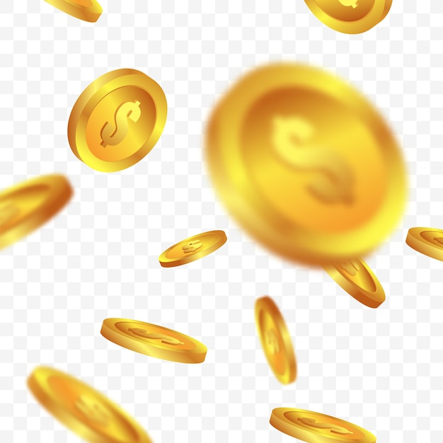 Moedas de ouro caindo em fundos transparentes Vetor Premium