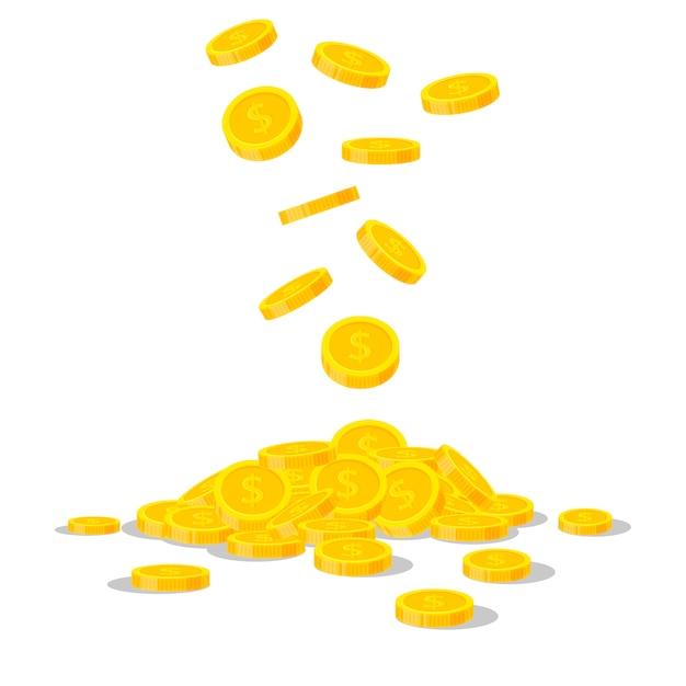 Moedas de ouro caindo isoladas no fundo branco. pilha de dinheiro em dinheiro. banca comercial, conceito de finanças em estilo simples Vetor Premium
