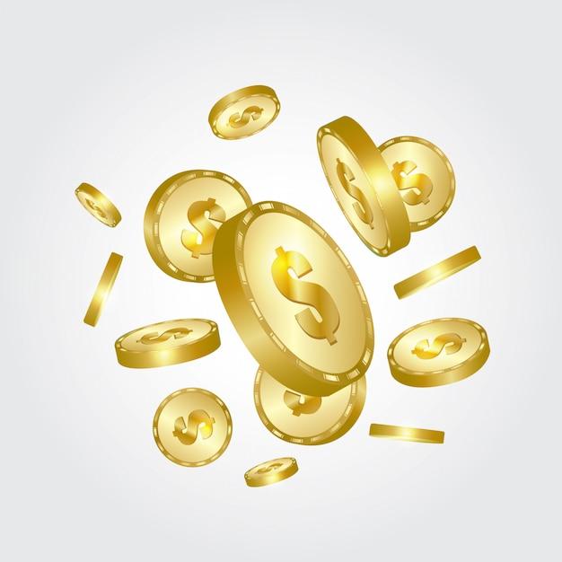 Moedas de ouro caindo. Vetor Premium