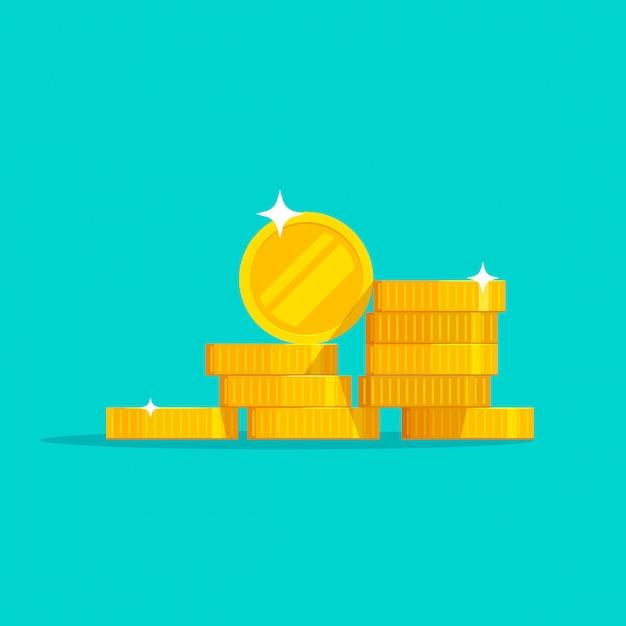 Moedas de ouro dinheiro pilha vector plana dos desenhos animados Vetor Premium