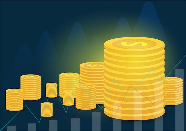 Moedas de ouro e finanças empresariais Vetor Premium