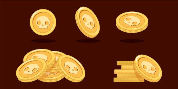 Moedas de ouro em diferentes posições definidas Vetor Premium