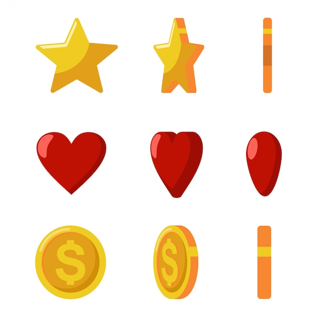 Moedas de ouro, estrelas e corações vermelhos vira. ícones do jogo e da web ajustados isolados em um fundo branco. Vetor Premium
