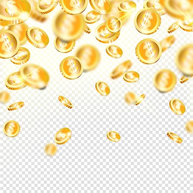 Moedas de ouro realistas caindo. recompensa em dinheiro - prêmio do jackpot Vetor Premium