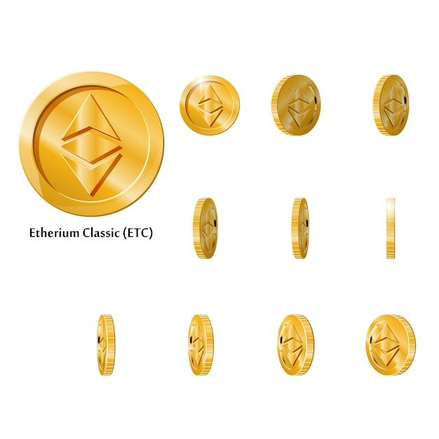 Moedas de ouro rodar etherium Vetor Premium