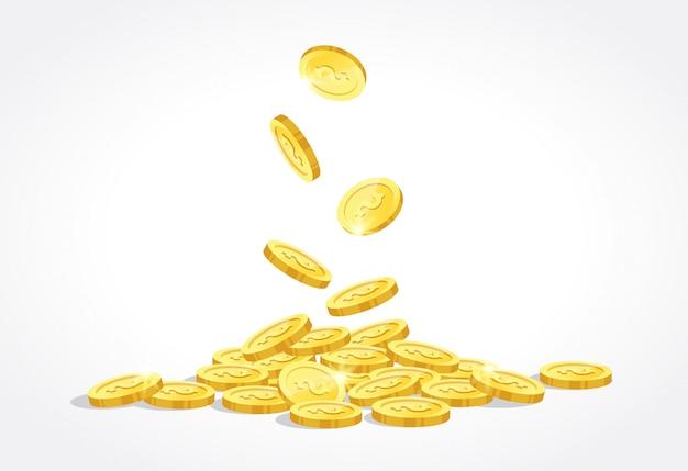 Moedas de ouro soltar ilustração vetorial Vetor Premium