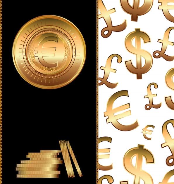 Moedas de ouro Vetor Premium