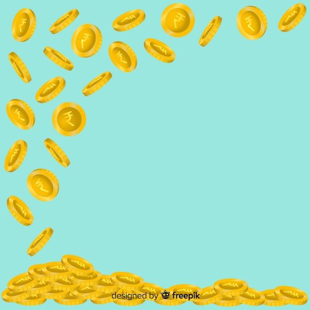 Moedas de rupia indiana caindo fundo Vetor grátis