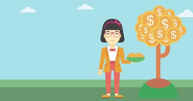 Moedas de travamento do dólar da mulher de negócio. Vetor Premium