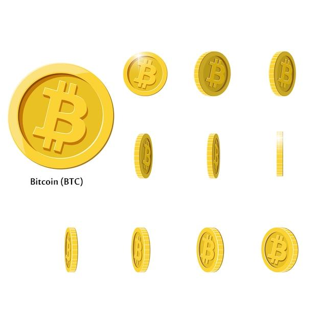 Moedas gold rotate bitcoin Vetor Premium