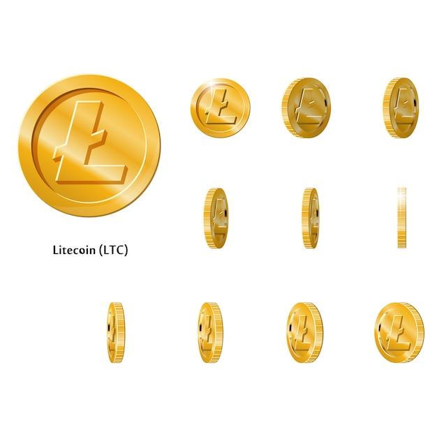 Moedas gold rotate litecoin Vetor Premium