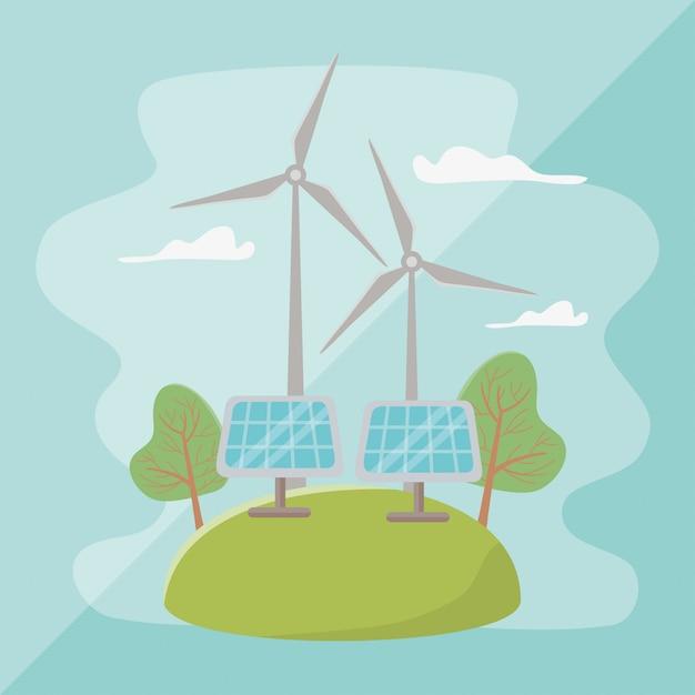 Moinho de vento e economizar energia Vetor Premium