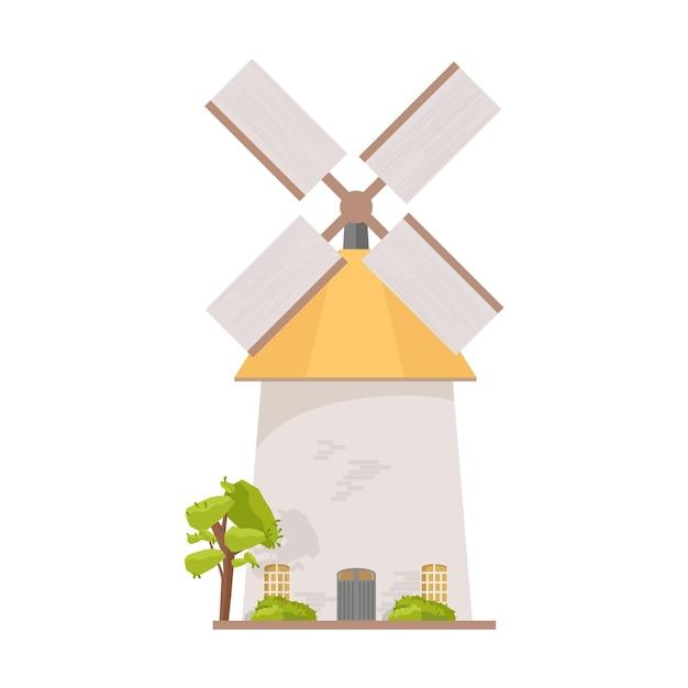 Moinho de vento holandês isolado no branco Vetor Premium