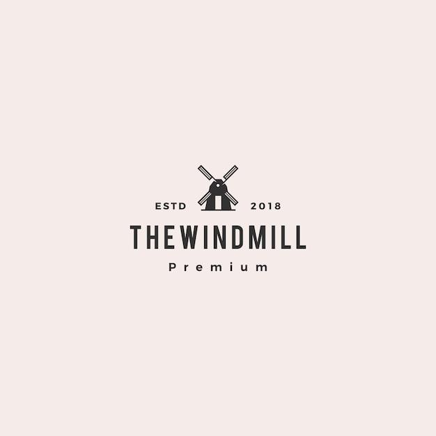 Moinho de vento logo vector icon ilustração Vetor Premium
