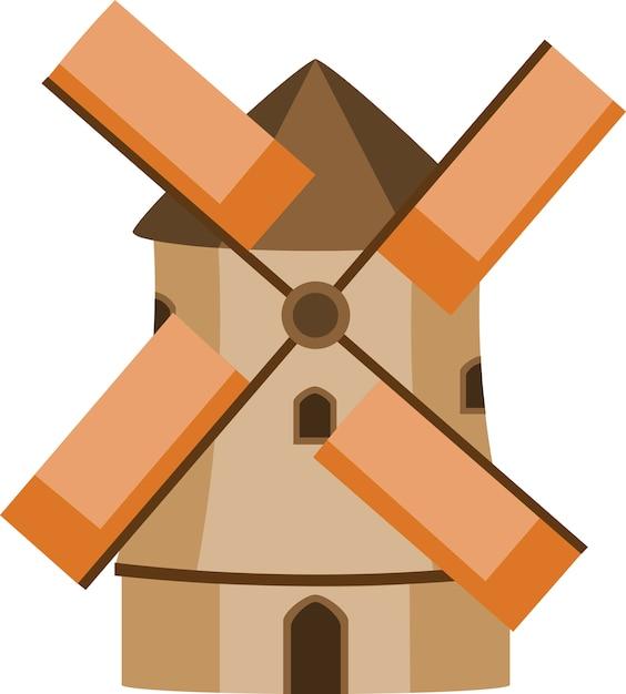 Moinho de vento marrom e laranja Vetor Premium