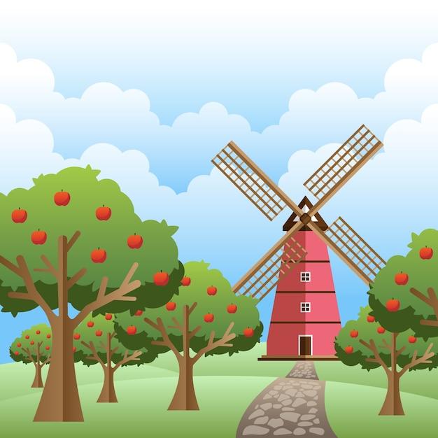 Moinho de vento na primavera com árvores em dia nublado Vetor Premium