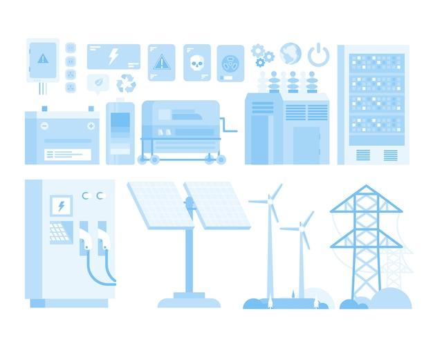 Moinho nuclear energia renovável projeto carro cidade elétrico ilustração plana Vetor Premium