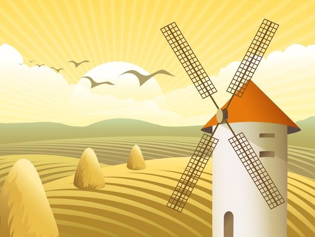 Moinhos de vento com telhado, em meio a campos e pilha de feno Vetor grátis