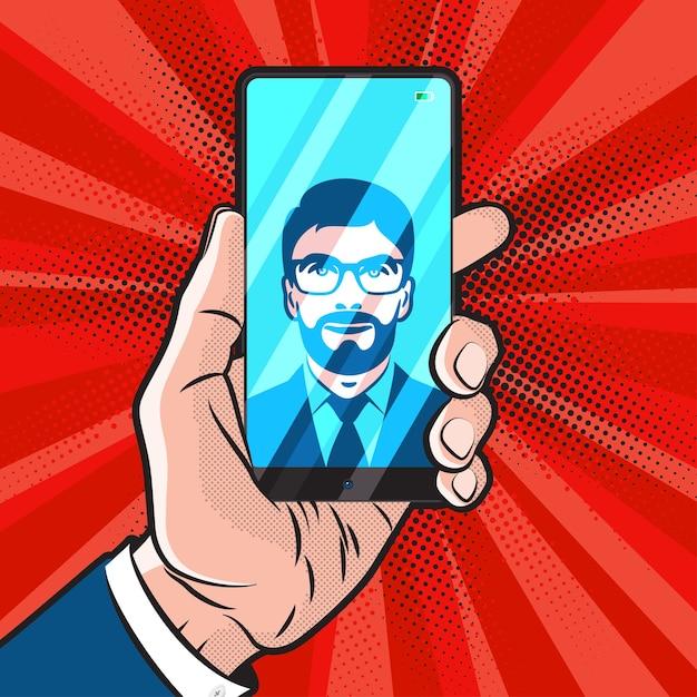 Mokup estilo popart com design moderno de smartphone Vetor Premium
